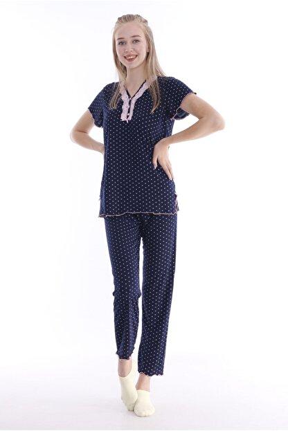 Huq Moda Kadın Pembe Puantiyeli Lacivert Pijama Takımı Kısa Kol