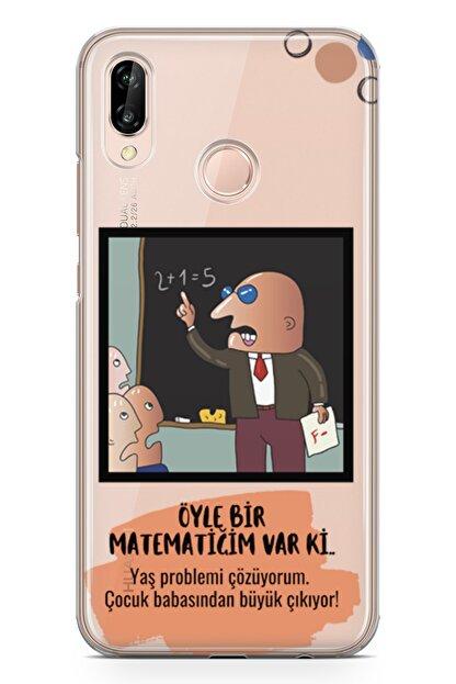 Lopard Huawei Nova 3e Kılıf Caps Matematik Arka Kapak Koruma Desenli Full Koruyucu