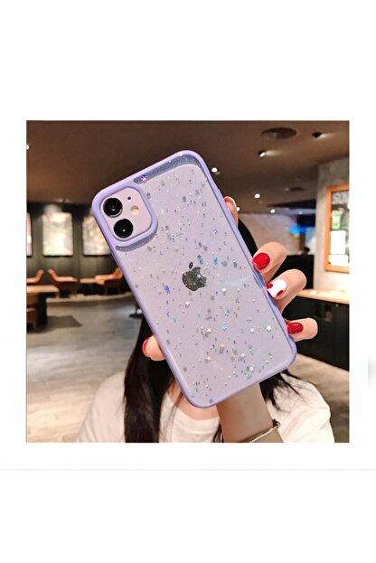 Kılıfsiparis Iphone 11 Kenarı Lila Renkli Simli Darbe Önleyici Silikon Kılıf