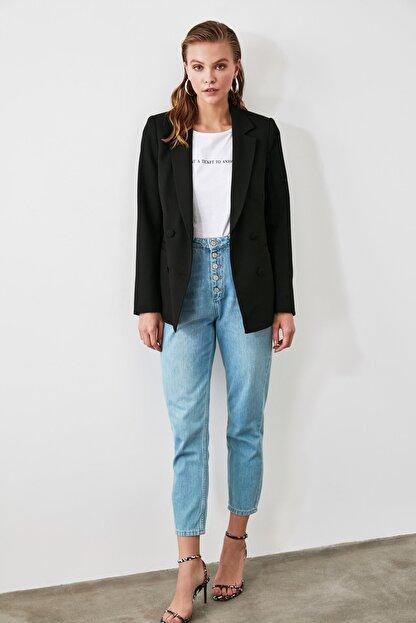 TRENDYOLMİLLA Siyah Cep Detaylı Blazer Ceket TWOAW20CE0051