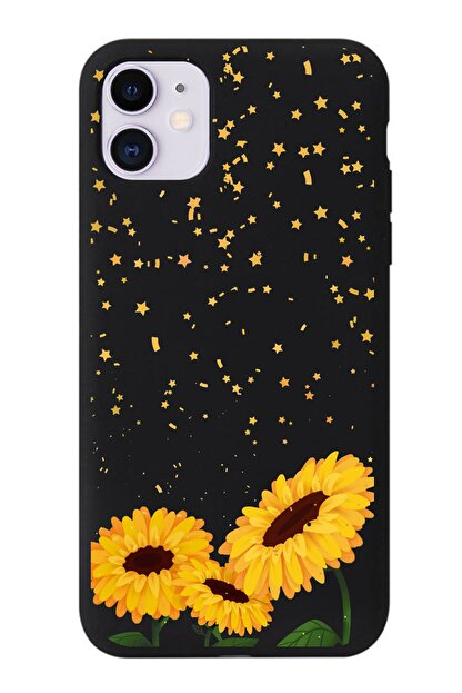 POFHİ Galaxy S10 Siyah Ayçiçeği Premium Telefon Kılıfı