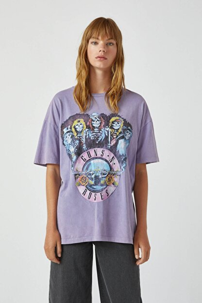 Pull & Bear Kadın Lila Lila Guns N' Roses T-Shirt 09244387