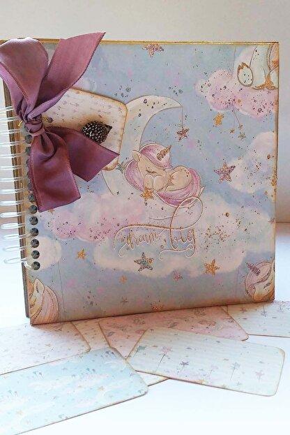 Scrap Klübü Kız Bebek Pembe Krem Unicorn Tasarımlı Fotograf Albümü
