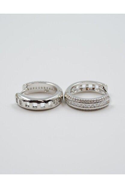 Swarovski Zirkon Taşlı 925 Ayar Gümüş Halka Küpe