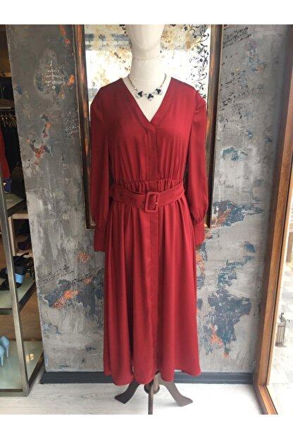Ekol Kadın Bordo Midi Boy Bordo Elbise