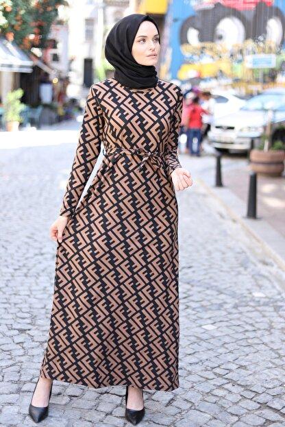 MODAEFA Kadın Kahverengi Siyah Elbise