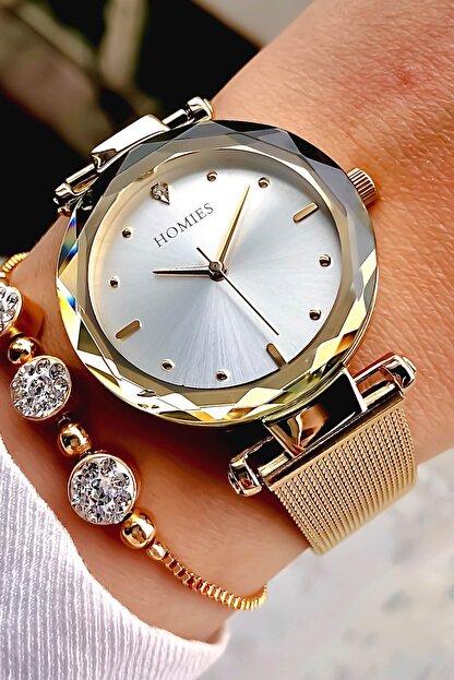 Homies Kadın Altın Renk Kol Saati+Bileklik
