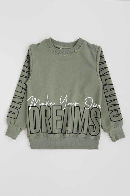 Ahenk Kids Kız Çocuk Haki Dream Baskı Sweatshirt 13439