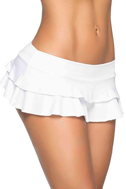 Merry See Kadın Beyaz Mini Etek
