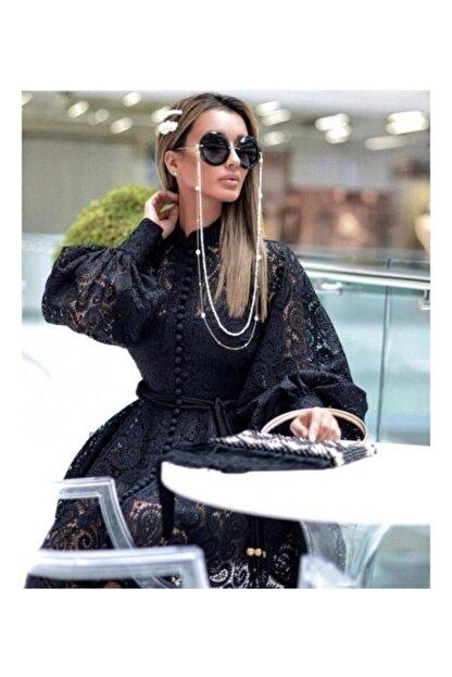 Ahsenserra Kadın Siyah Gracia Güpür Elbise