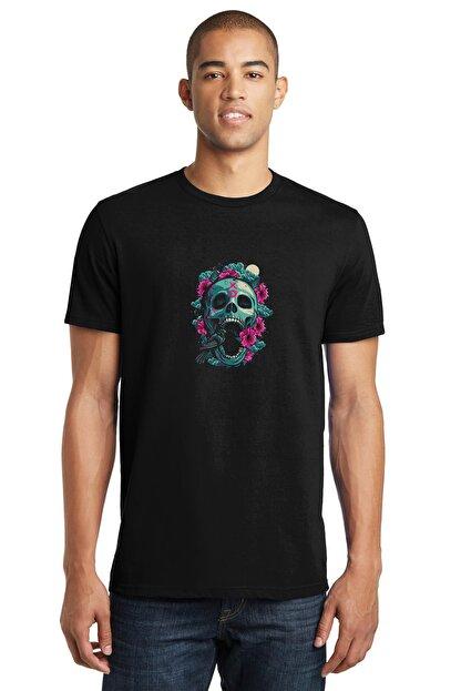 Collage Rose Kuş Owl Skull Baskılı Siyah Erkek Örme Tshirt T-shirt Tişört T Shirt