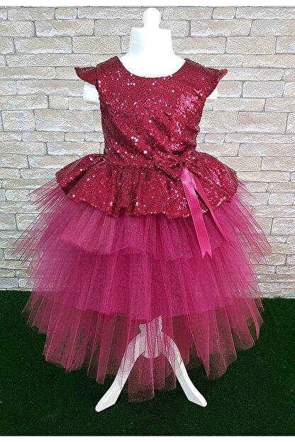 Mixie Kız Çocuk Bordo Payetli Abiye Elbise