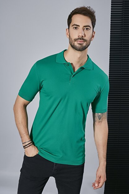 Sateen Men Erkek Koyu Yeşil Polo Yaka Slimfit T-Shirt STN844ETS111