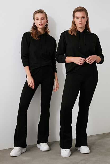 TRENDYOLMİLLA Siyah Flare Örme Pantolon TWOSS20PL0342
