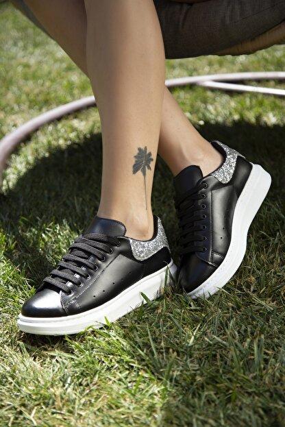 Ayakkabı Modası Kadın Siyah Gümüş Sneaker 5007-20-110001