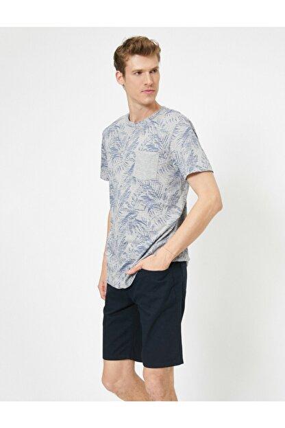 Koton Erkek Gri Desenli T-Shirt