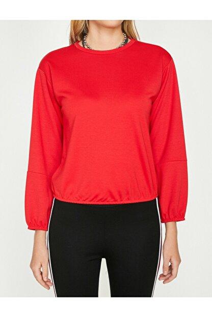 Koton Kadın Kırmızı Bisiklet Yaka Uzun Kollu T-Shirt 9YAL18596IK