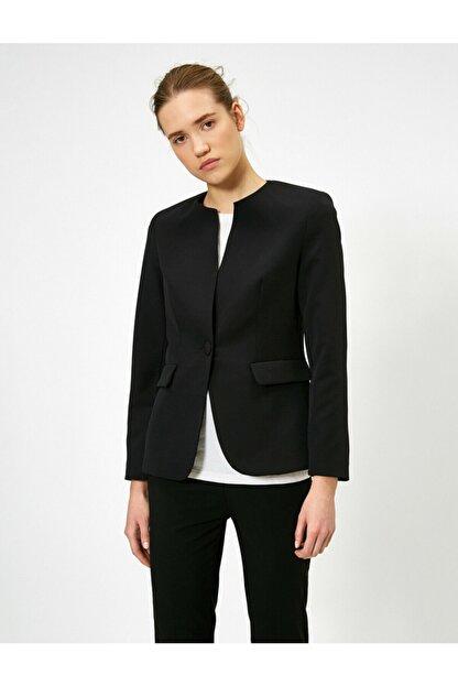 Koton Kadın Siyah Tek Dügme Detayli Ceket