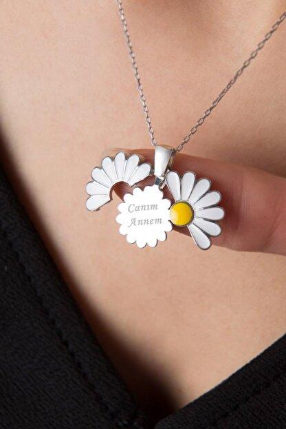 Elika Silver Kadın Canım Annem Yazılı Açılabilir Papatya Rose Kaplama 925 Ayar Gümüş Kolye