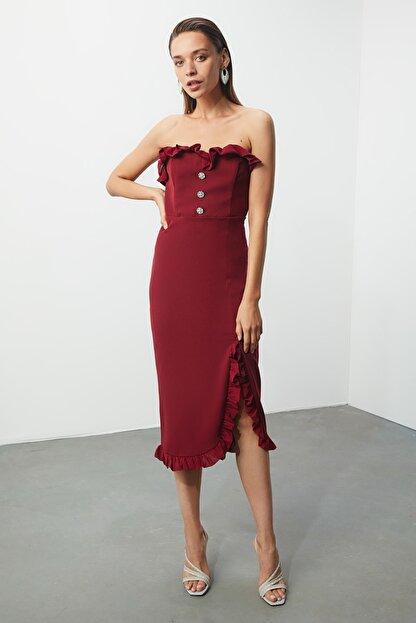 TRENDYOLMİLLA Bordo Aksesuar Detaylı Elbise TPRSS20EL0444