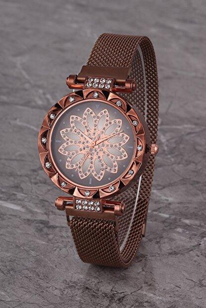 Polo55 Plkhm015r01 Kadın Saat Kahverengi Taşlı Çiçekli Şık Kadran Mıknatıslı Hasır Kordon