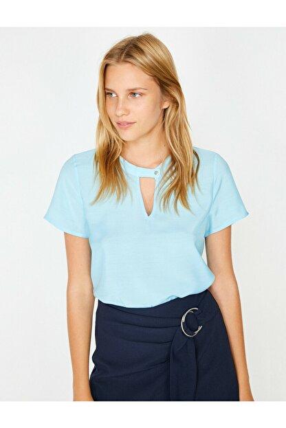 Koton Kadın Mavi Yaka Detaylı Bluz