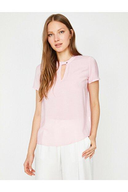 Koton Kadın Pembe Yaka Detaylı Bluz