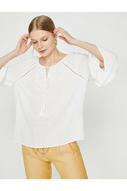 Koton Kadın Ekru Dantel Detaykı Bluz
