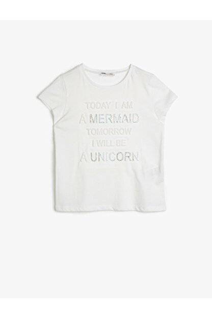 Koton Kız Çocuk Ekru T-Shirt 0YKG17453OK