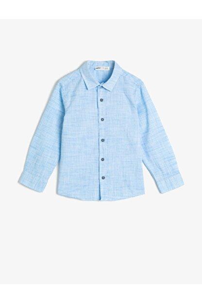 Koton Erkek Çocuk Kirçilli Kumastan Uzun Kollu Klasik Yaka Gömlek