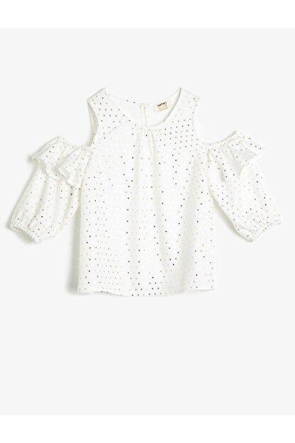 Koton Kız Çocuk Parlak Beyaz Puantiyeli Dökümlü Kumaş Bluz