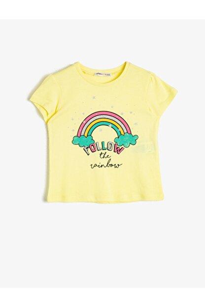 Koton Kız Çocuk Sarı Simli Baskılı Bisiklet Yaka Kısa Kollu T-Shirt