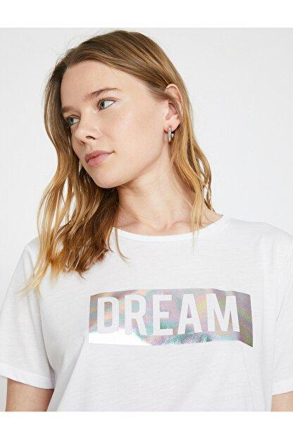 Koton Kadın Beyaz Varak Yazı Baskılı Bisiklet Yaka Standart Kalıp T-shirt
