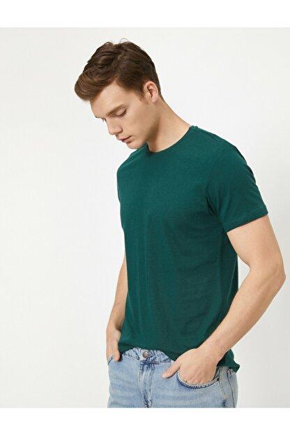 Koton Erkek Yeşil Bisiklet Yaka Slim Fit Basic T-Shirt