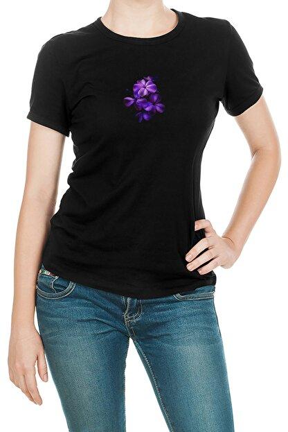 Collage Flower Amoled Baskılı Siyah Kadın Örme Tshirt T-shirt Tişört T Shirt