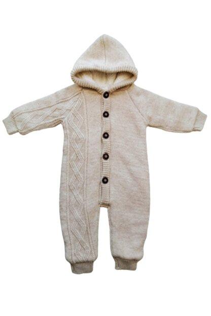 Puppis Baby Unisex Çocuk Bej Kapüşonlu Welsoft Triko Tulum