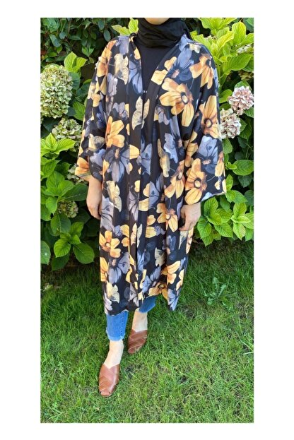 Woo'la Kadın Siyah Çiçekli Kimono