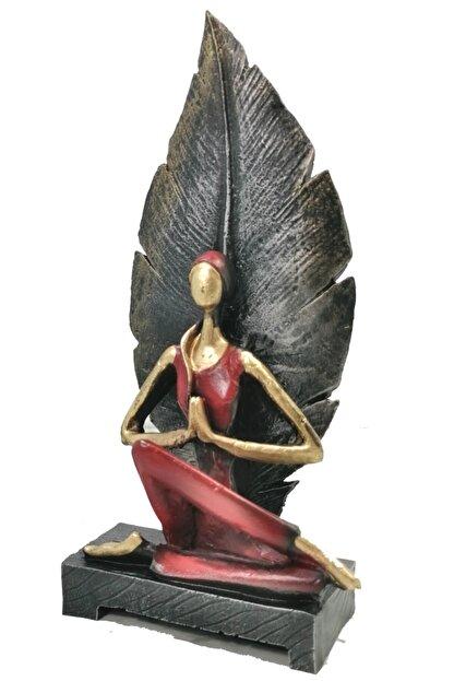 Gift Garden Dekoratif Yapraklı Yoga Yapan Kadın Biblosu 22 cm