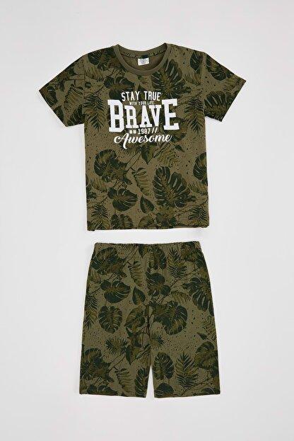 Defacto Erkek Çocuk Yaprak Desenki Tişört ve Şort Takım