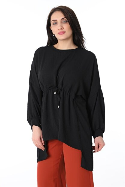 ZİNCiRMODA Kadın Siyah Bel Bağlamalı Arkası Uzun Tunik