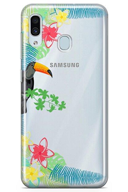 Lopard Samsung Galaxy A20 Kılıf Tukan Kuşu Arka Kapak Koruma Desenli Full Koruyucu