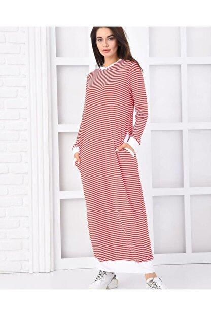 Qimene Kadın Kırmızı Çizgili Penye Elbise