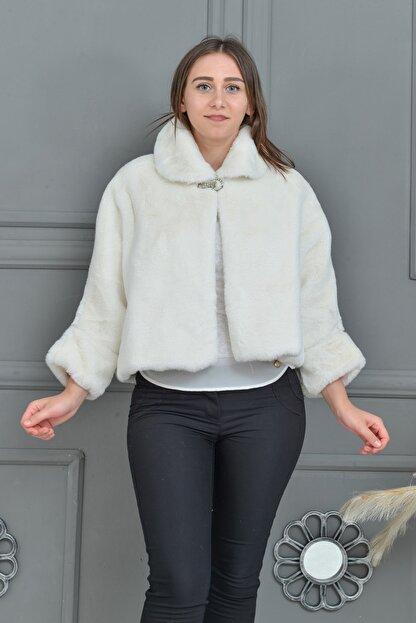 Tuhanakürk Kadın Beyaz Panço
