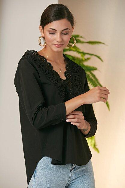 MONAMORE Kadın Sıyah Yakası Dantel Detaylı Bluz