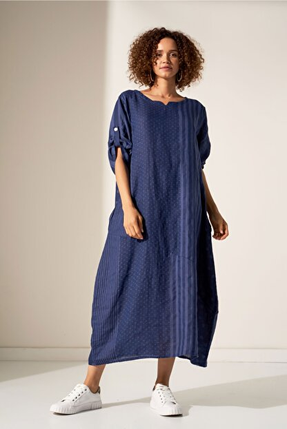 Camena Puantiye Çizgili Keten Elbise 2019070500190