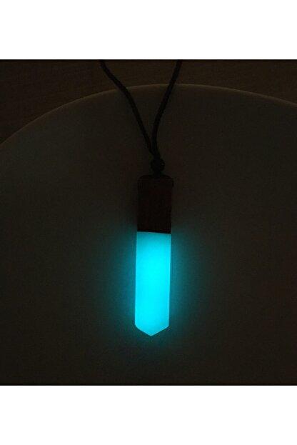 Atelier8 Karanlıkta Işık Veren Ahşap Epoksi Unisex Kolye