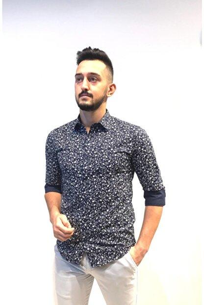 TREND&YOU Erkek Lacivert Desenli Uzun Kollu Erkek Gömlek