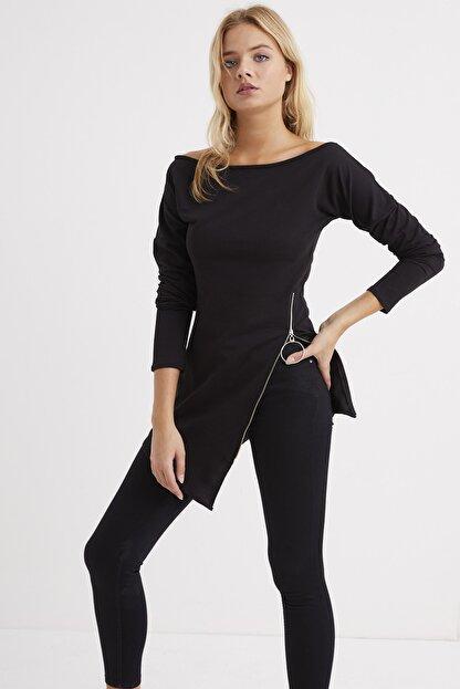 Cool & Sexy Kadın Siyah Yandan Fermuarlı Kayık Yaka Elbise B157