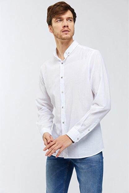 Avva Düz Düğmeli Yaka Slim Fit Uzun Kol Vual Gömlek