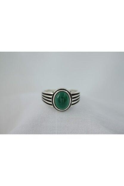 GİZA SİLVER Yeşil Akik Taşlı 925 Ayar Gümüş Erkek Yüzük